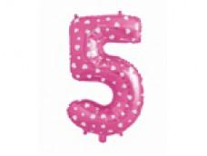 Folijas balons 64cm L - cipars 5, rozā ar sirsniņām, tikai gaisam