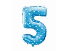 Folijas balons 64cm L - cipars 5, zils ar zvaigznītēm, tikai gaisam