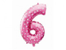 Folijas balons 64cm L - cipars 6, rozā ar sirsniņām, tikai gaisam