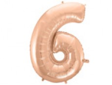Folijas balons 96cm XXL - cipars 6, rozā zelta