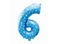Folijas balons 64cm L - cipars 6, zils ar zvaigznītēm, tikai gaisam