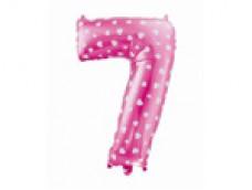 Folijas balons 64cm L - cipars 7, rozā ar sirsniņām, tikai gaisam