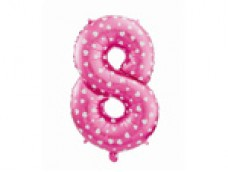 Folijas balons 64cm L - cipars 8, rozā ar sirsniņām, tikai gaisam