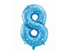 Folijas balons 64cm L - cipars 8, zils ar zvaigznītēm, tikai gaisam