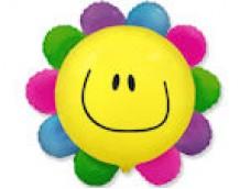 Folijas balons 60cm - Flexmetal, Puķe, krāsaina, smaidīga