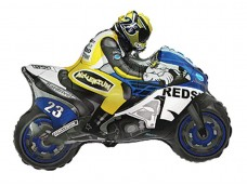 """Folijas balons 60cm - Flexmetal, """"Moto Racing"""" - motobraucējs, zils"""
