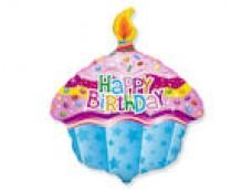 "Folijas balons 60cm - Flexmetal, Kūka, ar uzrakstu ""Happy BirthDAY"""