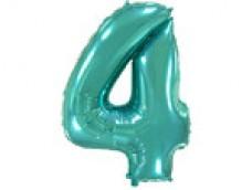 Folijas balons 96cm XXL - cipars 4, tiffany