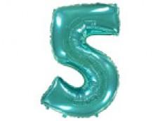 Folijas balons 96cm XXL - cipars 5 tiffany