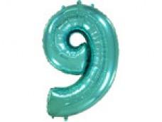 Folijas balons 96cm XXL - cipars 9 tiffany