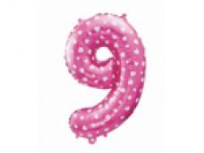 Folijas balons 64cm L - cipars 9, rozā ar sirsniņām, tikai gaisam