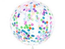 Baloni bezkrāsaini, caurspīdīgi ar konfeti 89cm, JUMBO