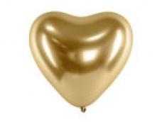 Baloni metāliski, hroma, zelta,  sirds formā - 27cm