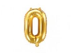 Folijas balons 35cm M - cipars 0, zelta, tikai gaisam
