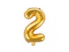 Folijas balons 35cm M - cipars 2, zelta, tikai gaisam