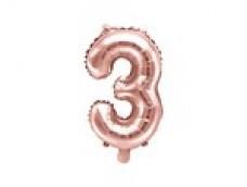 Folijas balons 35cm M - cipars 3, zelta, rozā, tikai gaisam
