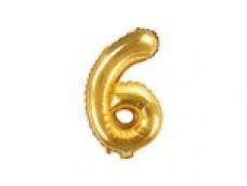 Folijas balons 35cm M - cipars 6, zelta, tikai gaisam