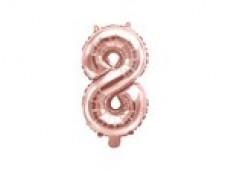 Folijas balons 35cm M - cipars 8, zelta, rozā, tikai gaisam