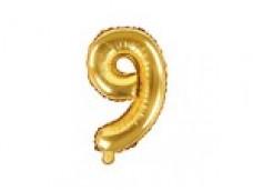Folijas balons 35cm M - cipars 9, zelta, tikai gaisam