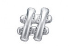 Folijas balons 35cm M -  simbols #, sudraba, tikai gaisam