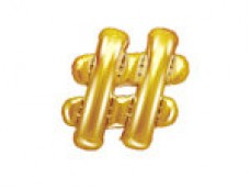 Folijas balons 35cm M -  simbols #, zelta, tikai gaisam