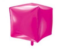 Folijas balons 35cmx35cmx35cm XL - kubs, rozā, tumši