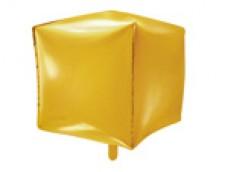 Folijas balons 35cmx35cmx35cm XL - kubs, zelta