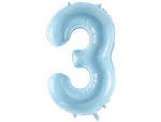 Folijas balons 86cm XL - cipars 3, gaiši zils