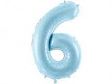 Folijas balons 86cm XL - cipars 6, gaiši zils