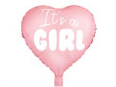 """Folijas balons 45cm, sirds, rozā, gaiši, """"It's a Girl"""" - meitene"""
