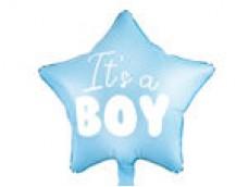 """Folijas balons 48cm, zvaigzne, zila, gaiši, """"It's a Boy"""" - puika"""