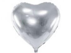 Folijas balons sirds, sudraba, 61cm