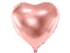 Folijas balons sirds, zelta, rozā, 61cm