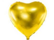 Folijas balons sirds, zelta, 61cm