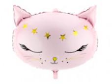 Folijas balons 48 x 36 cm - Kaķis, gaiši rozā