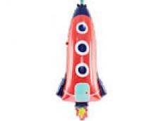 Folijas balons 44 x 115 cm - raķete, sarkana