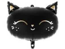 Folijas balons 48 x 36 cm - Kaķis, melns, matēts