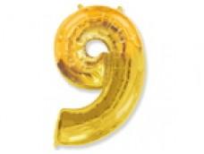 Folijas balons 96cm XXL - cipars 9, zelta