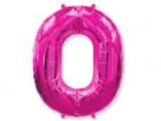 Folijas balons 96cm XXL - cipars 0, rozā