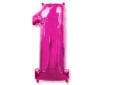 Folijas balons 96cm XXL - cipars 1, rozā