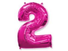 Folijas balons 96cm XXL - cipars 2, rozā