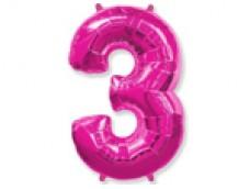 Folijas balons 96cm XXL - cipars 3, rozā