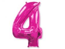 Folijas balons 96cm XXL - cipars 4, rozā