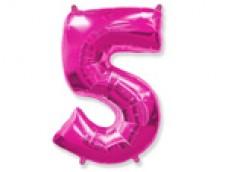 Folijas balons 96cm XXL - cipars 5, rozā