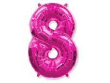 Folijas balons 96cm XXL - cipars 8, rozā