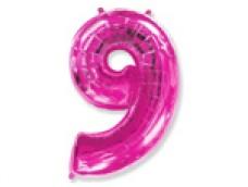 Folijas balons 96cm XXL - cipars 9, rozā