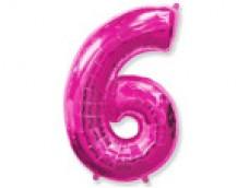 Folijas balons 96cm XXL - cipars 6, rozā