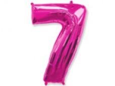 Folijas balons 96cm XXL - cipars 7, rozā