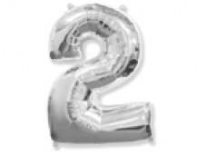 Folijas balons 96cm XXL - cipars 2, sudraba
