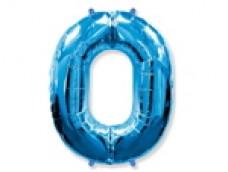 Folijas balons 96cm XXL - cipars 0, zils